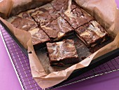 Marbled chocolate tray bake cake