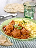 Curried meatballs with rice