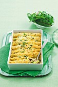 Überbackene Creperöllchen gefüllt mit Hühnerfleisch & Brokkoli