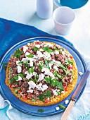 Pikanter Reiskuchen mit Hackfleisch, Baba Ganoush & Fetakäse