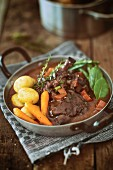Coq Au Vin with potatoes and carrots