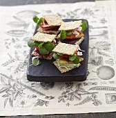 Cracker-Sandwich mit Brunnenkresse, Birne & Roter Bete