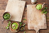 Vegetarian pesto and herb sauces
