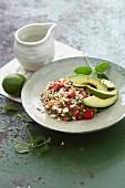 Vegan chia seed chilli with buckwheat, limes and avocado