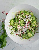 A colourful potato salad with radishes and radish leaves