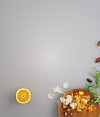 Fried carrot and bulgur with rocket
