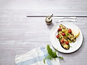 Baked aubergines with feta cheese, tomatoes and chilli(low carb)