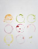 Rings from glasses of colourful smoothies
