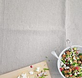 Bread salad with radishes and feta cheese