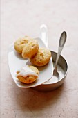 Scones with candied ginger and icing