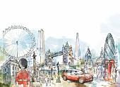 An illustration of London landmarks