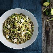 Lentil and courgette rice with cardamom and feta cheese (seen from above)