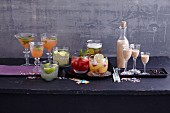 Homemade party drinks on a buffet