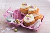 Easter cupcakes with eggnog, cream cheese frosting and sugar eggs