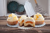 Apricot cheesecake cupcakes with cream cheese frosting