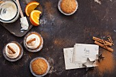 Winter cupcakes with orange and cinnamon