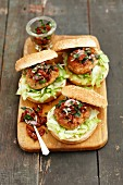 Pork burgers with dried tomato salsa