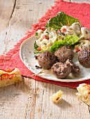 Basil meatballs with tortellini