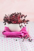A bowl of elderberries