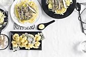 Salt and pepper squid, sesame chicken, udon noodle salad