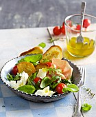 Bread salad with mozzarella and San Daniele ham