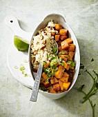 Stir-fried vegan pumpkin with almond couscous