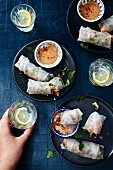 Turkish-style summer rolls with peanut sauce