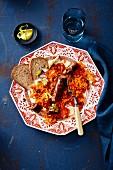 Halal sausage with spicy tomato sauerkraut (Turkey)