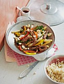 Beef fillet and a stir-fried chard and pepper medley