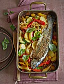 Salmon trout on Mediterranean, oven-roasted vegetables