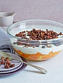 A soured milk trifle, apricots and crunchy pumpernickel