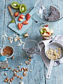 Homemade wholefood muesli with fruits and chia seeds