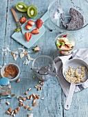Homemade wholefood muesli with fruits and chia seeds