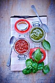 Tomato pesto and basil pesto