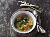 Potato soup with bok choy and prawns (Vietnam)