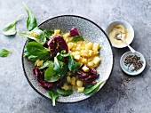 Vegetarian lamb's lettuce salad with radicchio and a potato dressing