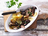Fried potatoes with porcini mushrooms
