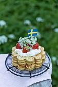 Swedish waffles with strawberries and cream