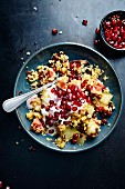 Bulgur salad with figs, honeydew melon, dates and pomegranate seeds (Turkey)