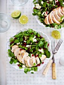 Chicken salad with pomegranate seeds and feta cheese