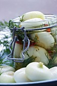 Borettane onions in white balsamic vinegar with fresh dill
