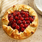 Cherry tart with a puff pastry crust