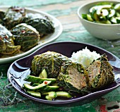 Savoy cabbage dolmas with cucumber salad