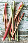Rhubarb spears on a wooden table