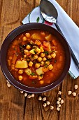Vegan chickpeas soup with peppers (seen from above)