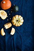 Various pumpkins on a blue fabric surface