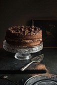 Whole Chocolate Frosted Cake on Cake Stand