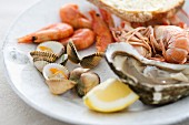 Mixed seafood (prawns, oysters, mussels and scampi) with lemon and bread