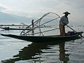 Fishermen casting their nets in Inle Lake, Shan State, Myanmar (Burma), Asia