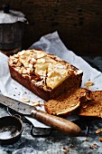 Apple and almond cake, a piece cut